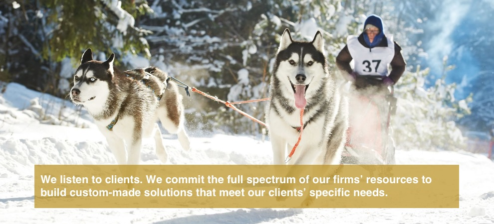 We listen to clients. We commit the full spectrum of our firms' resources to build custom-made solutions that meet our clients' specific needs.